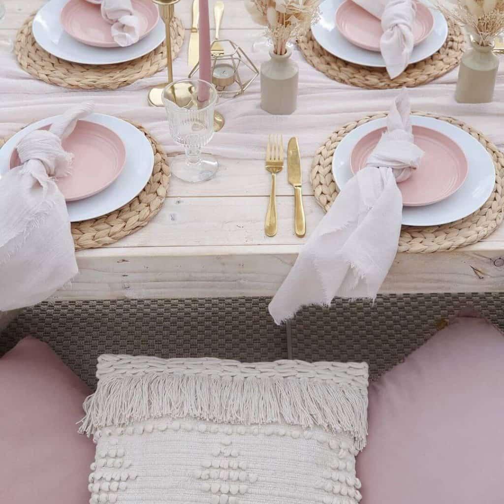 boho table setting baby shower