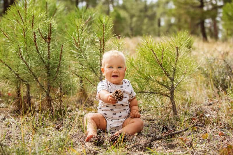 baby boy in the forest