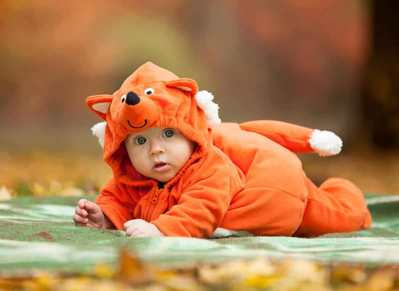 baby dressed as animal
