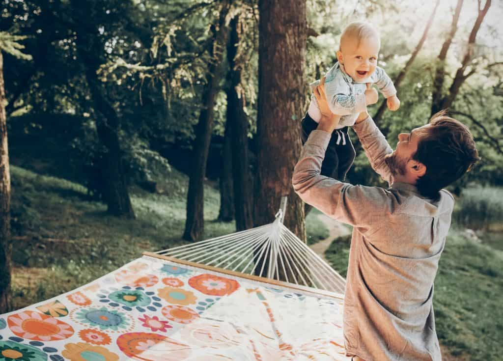 father with hippie baby