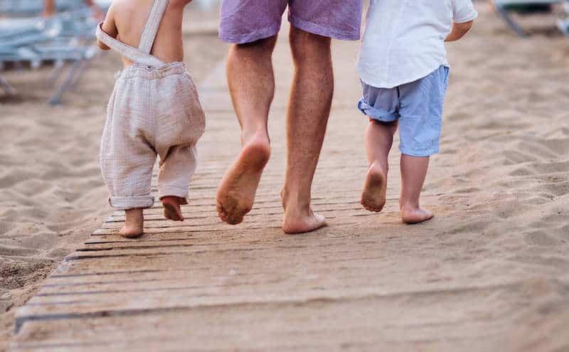 hippie family walking