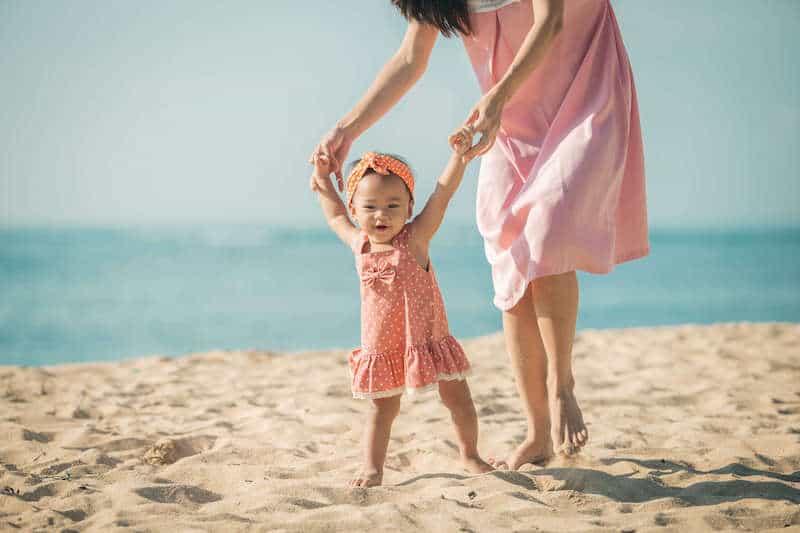 mom hippie baby beach