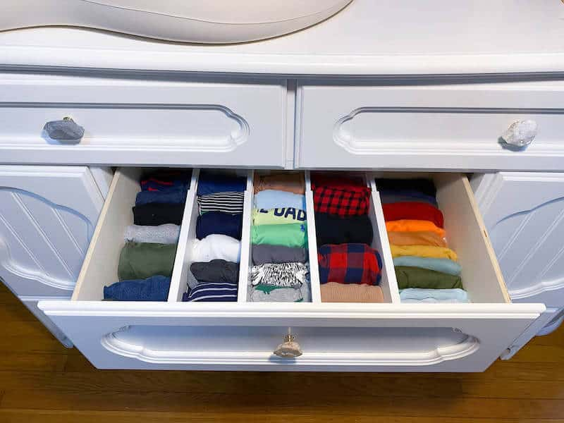 mom hacks newborn baby drawer organization
