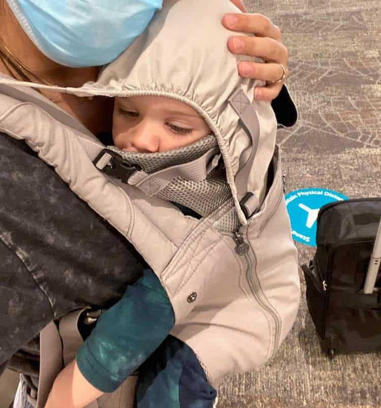 wearing baby air travel pandemic