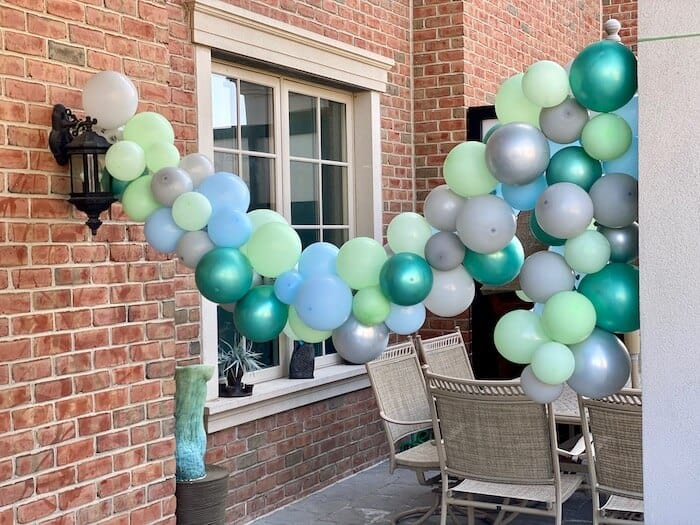 turquoise mint silver balloon garland