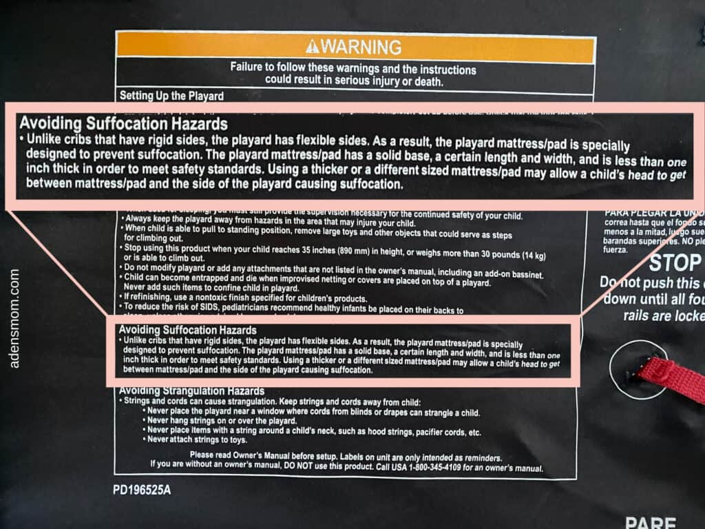 pack n play mattress warnings