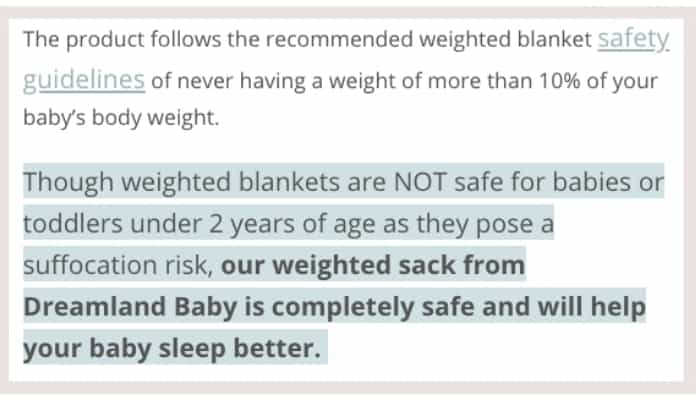 weighted blanket infant safety